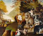 Oil on canvas of several small children, animals, and Penn's treaty in the left background. In this painting a child touches the head of a docile leopard and the animal faces seem collectively less fierce.